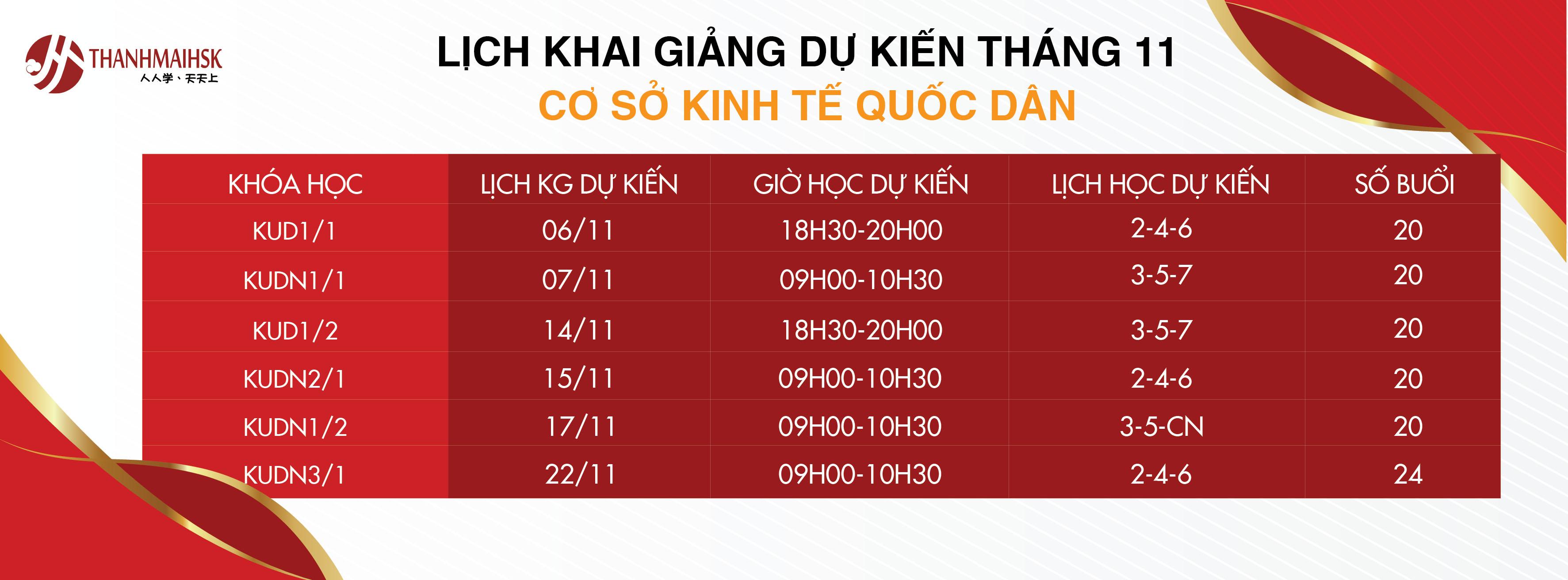Lịch KGDK tháng 11 THANHMAIHSK cơ sở 4 Kinh tế quốc dân