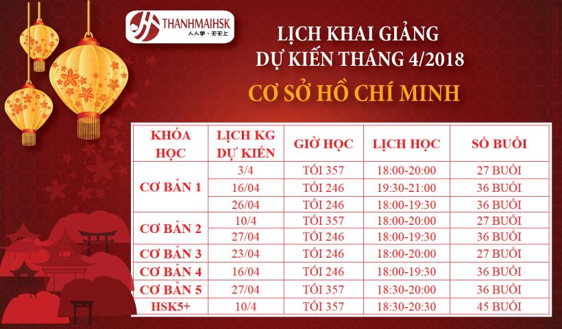 Lịch khai giảng tháng 04 tại THANHMAIHSK cơ sở 2 – Hồ Chí Minh