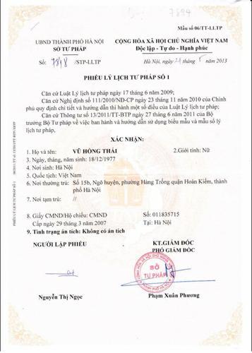 Lý lịch tư pháp trong hồ sơ du học Trung Quốc là gì?