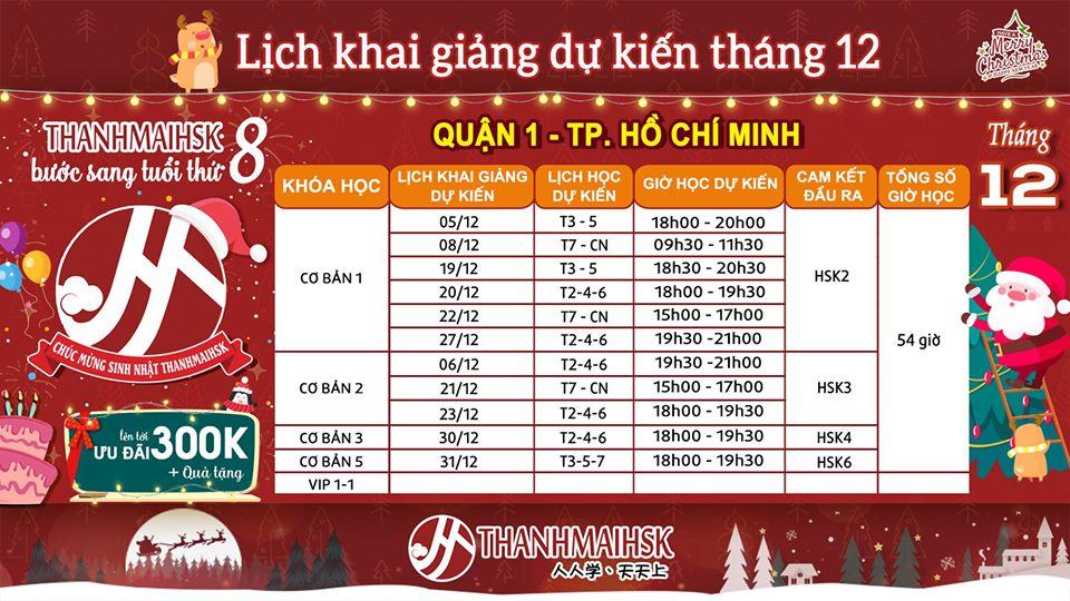 Lịch khai giảng tháng 12/2019 tại THANHMAIHSK cơ sở quận 1 Hồ Chí Minh
