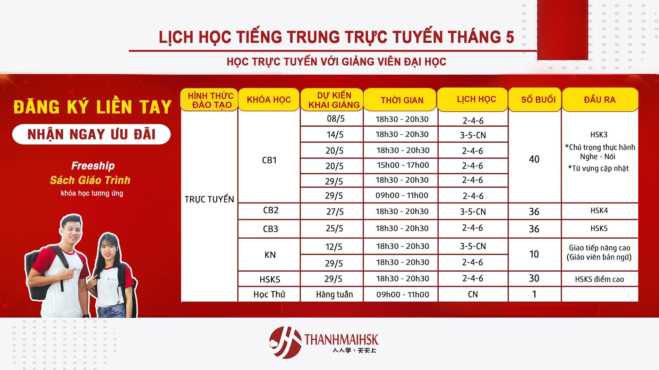 Lịch khai giảng tháng 5/2020 tại THANHMAIHSK cơ sở quận Tân Bình – Hồ Chí Minh