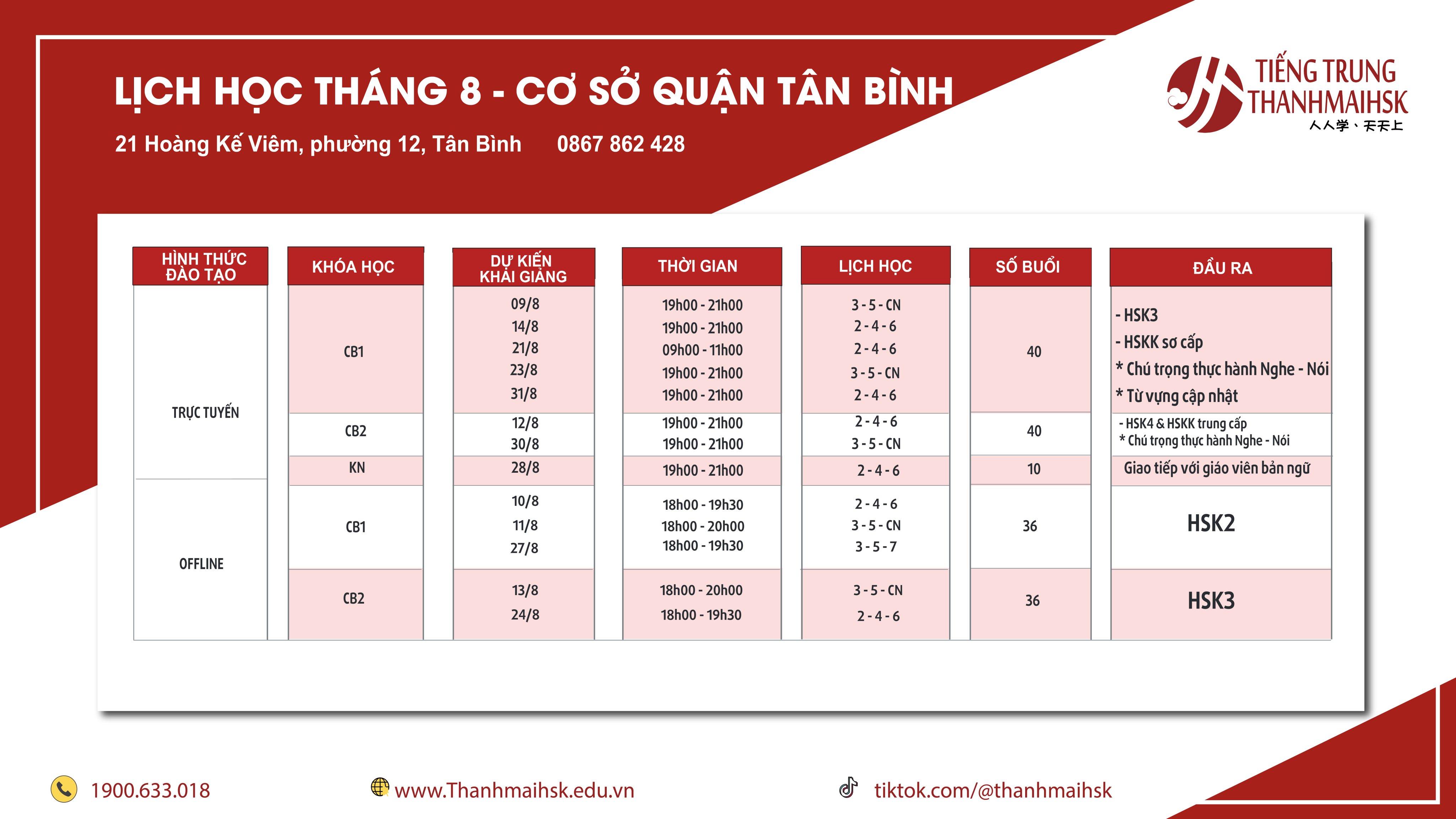 Lịch khai giảng Tiếng Trung tháng 8/2020 cơ sở Tân Bình|Thanhmaihsk