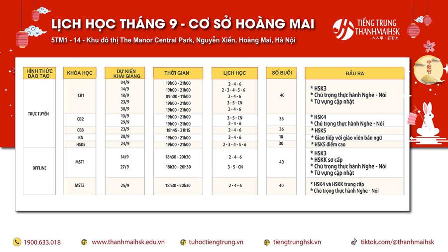 Lịch khai giảng lớp Tiếng Trung Tháng 9/2020 cơ sở Hoàng Mai